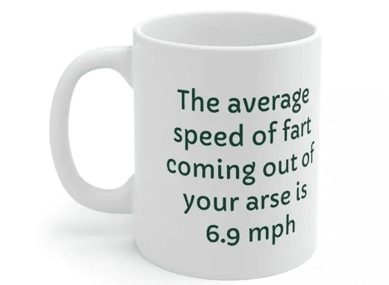 The average speed of fart coming out of your arse is 6.9 mph – White 11oz Ceramic Coffee Mug (3)